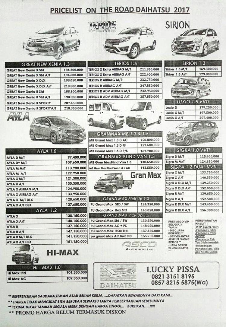 Harga Mobil Daihatsu By Lucky